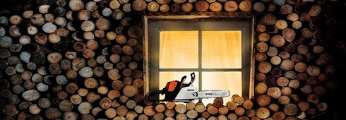 illuminated window with chainsaw